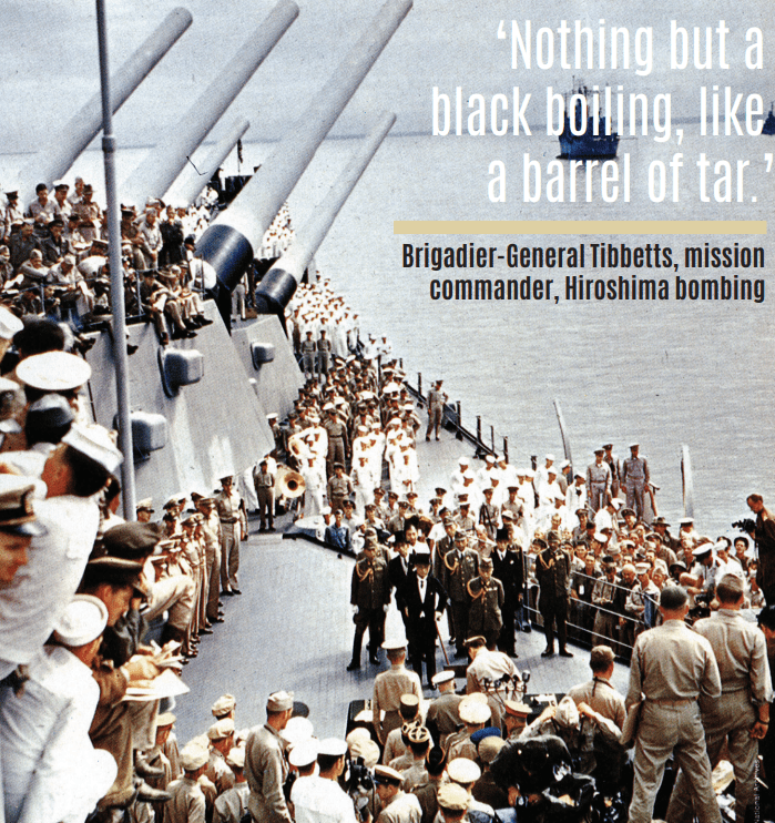 The surrender ceremony: the Japanese delegation arrives on board the USS Missouri, lying at anchor in Tokyo Bay, on 2 September 1945.