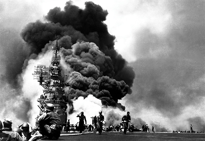 The USS Bunker Hill burns after two kamikaze strikes in June 1945.  During the campaign, 27 US ships were sunk and 164 others damaged.