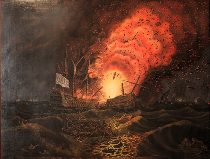 The 74-gun French ship César explodes at the Battle of the Saintes.