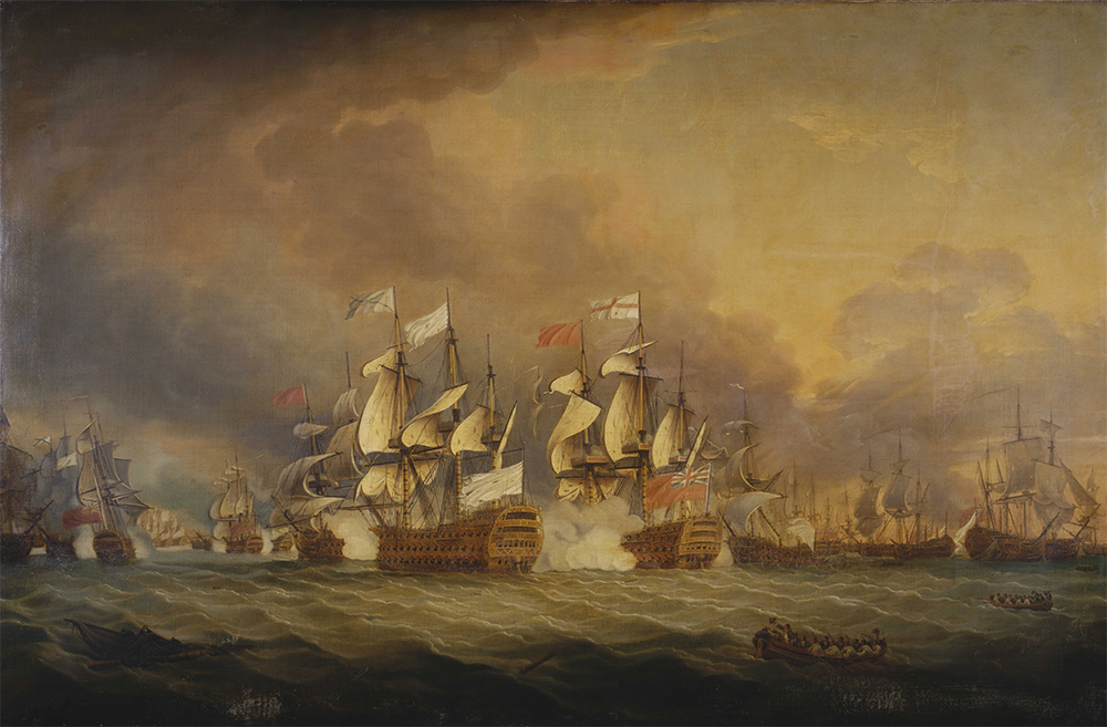 The Battle of the Saintes, 1782. Detail from a painting by Thomas Mitchell. Admiral George Rodney's tactic of 'breaking the line' may have been accidental, but it was hailed at the time as a stroke of genius.