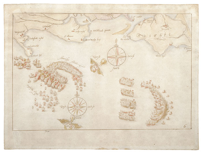 One of the ten maps in the collection, depicting an engagement between the two fleets off the Isle of Wight, 2-3 August 1588. Image: National Museum of the Royal Navy.