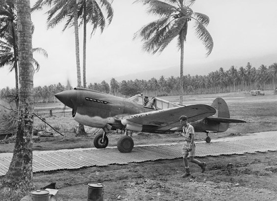 Keith Truscott aboard a P-40 Kittyhawk at Milne Bay, New Guinea, in September 1942. He took part in several crucial and treacherous missions in the Pacific Theatre.