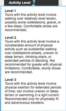 NCL Shore Excursion Activity Level