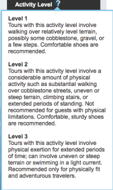 NCL Shore Excursion Activity Level