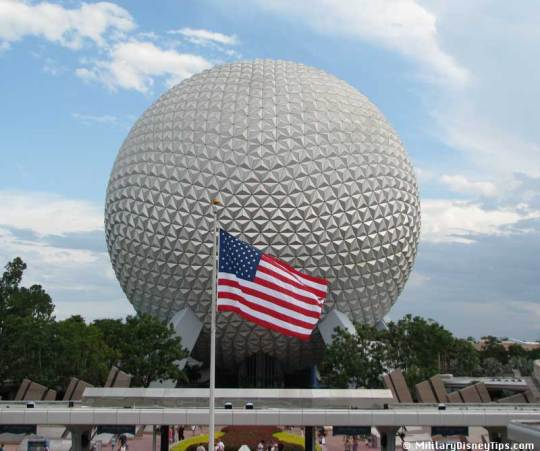 The American Flag flies proudly over Disney World's Epcot