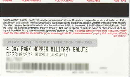 Disney Military Ticket Back