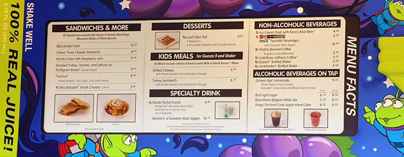 Toy Story Land Woodys Lunch Box Menu