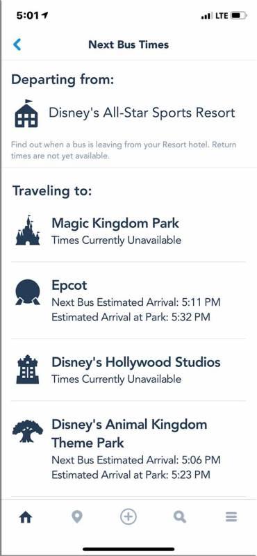 My Disney Experience App - Bus Wait Times