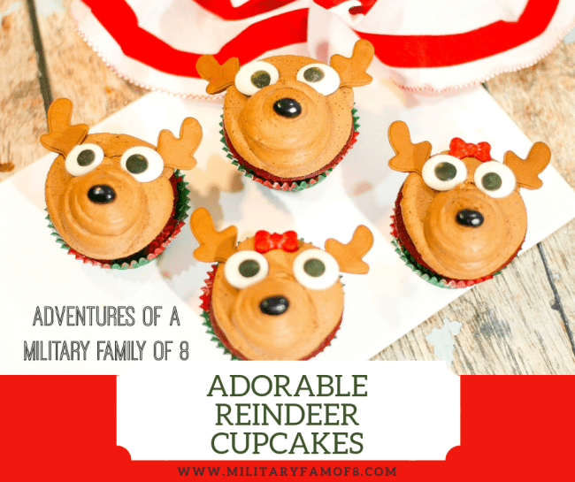 This Easy and Adorable Reindeer Cupcake Recipe uses one of my favorite frosting recipes, so it's safe to say that I love them! These reindeer cupcakes are very easy to make which makes it a fun project to make with kids. #Christmas #ChristmasCupcakes