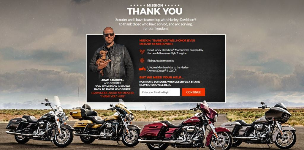 Adam Sandoval & Harley-Davidson are Showing Our Military and Veterans Major Love