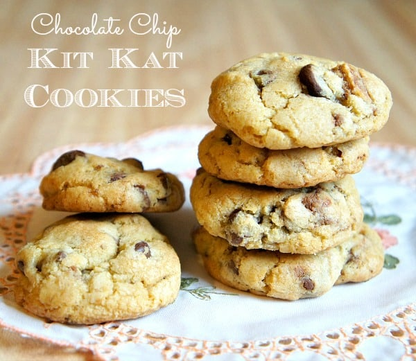 Chocolate Chip Kit Kat Cookies The Ultimate Leftover Candy Recipe Collection! With over 70 recipes you are sure to find ways to use left over candy in ways you did not imagine! From pies to ice cream to drinks, these recipes will blow your mind!