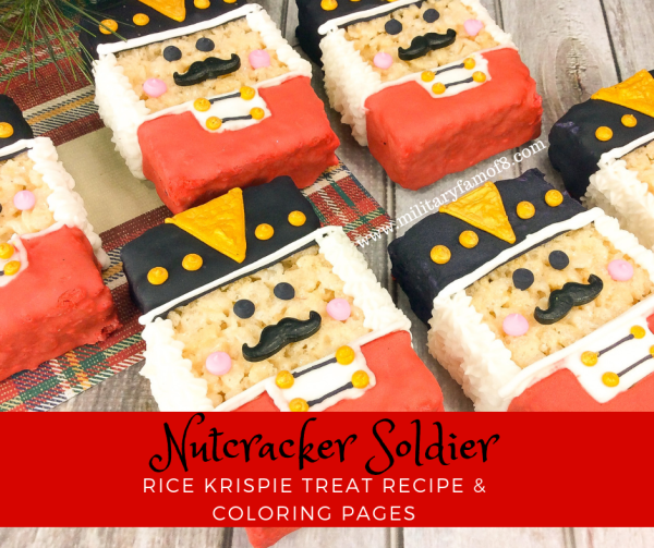 Nutcracker Soldier Rice Krispie Treat Recipe & Coloring Pages