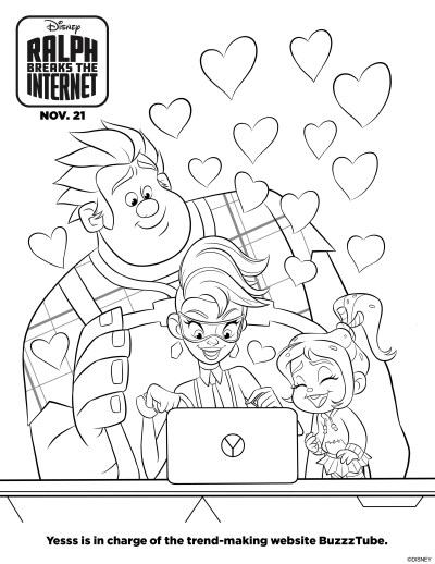 Ralph Breaks the Internet Printable and Coloring Pages. Free pages from the 2nd Wreck-it Ralph movie. #printable #freeprintable #disney