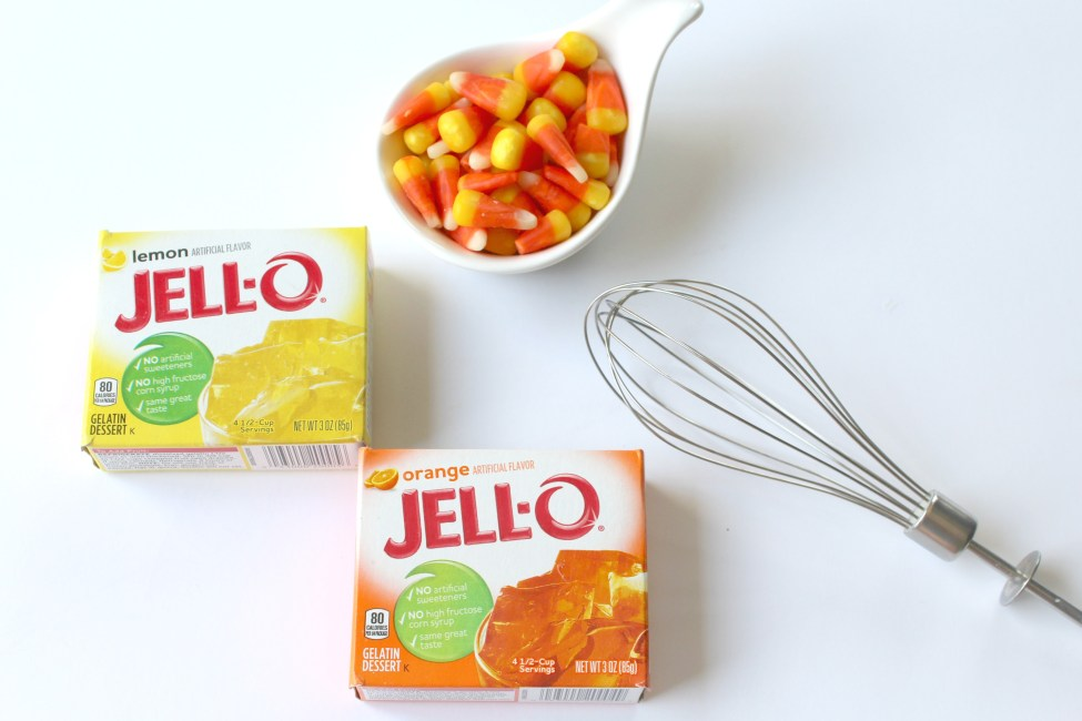 Candy Corn Jell-O Shots The Perfect Halloween Treat! Get into the spirit of things with these candy corn jello shots! They are perfect for kids to enjoy and you can also add a little fun adult potion to make them the perfect adult Halloween treat!