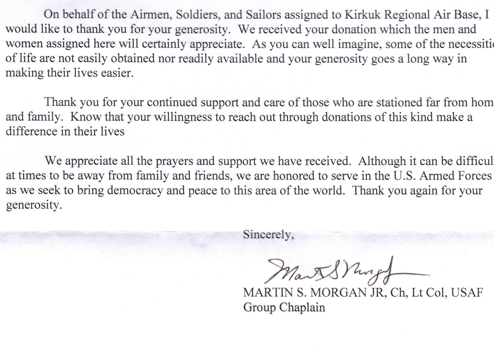 Thank You Letter For Donation From Company