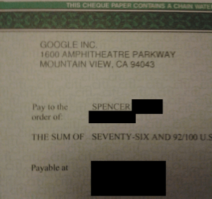 My First Google Adsense Check!