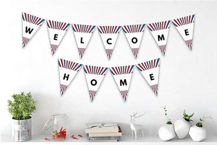 graphic about Welcome Home Printable known as Free of charge Patriotic Welcome Residence Printable Pennant Banner