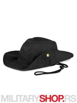 Safari - pamučni šešir crne boje sa učkurom
