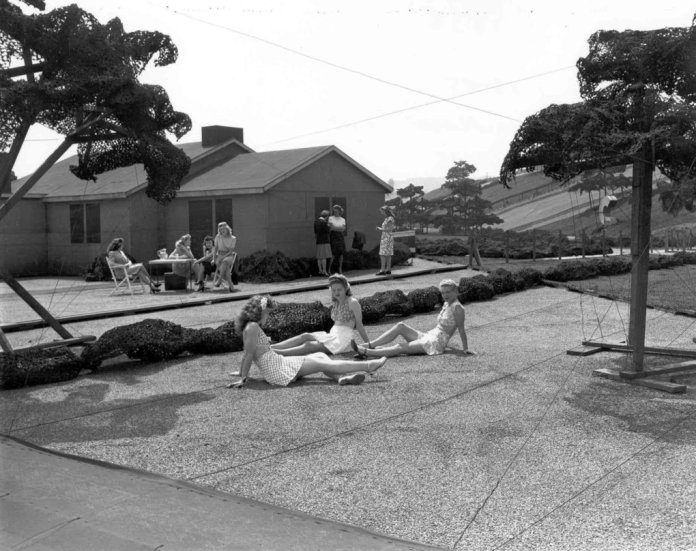 people-lounge-on-a-fake-lawn-during-a-publicity-shot-on-top-of-the-camouflaged-roof-boeing-seattle-times-archive