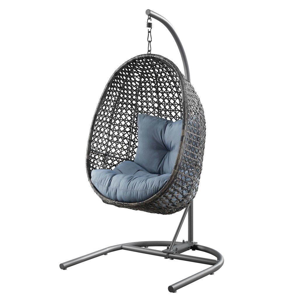 better homes gardens lantis patio wicker hanging chair with stand and blue cushion walmart