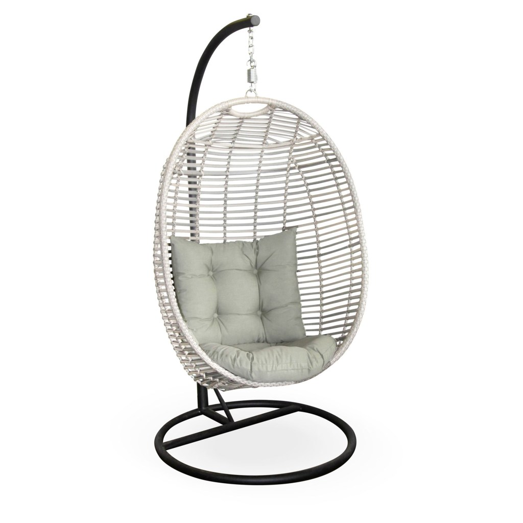 brindisi all weather wicker hanging chair with cushions white