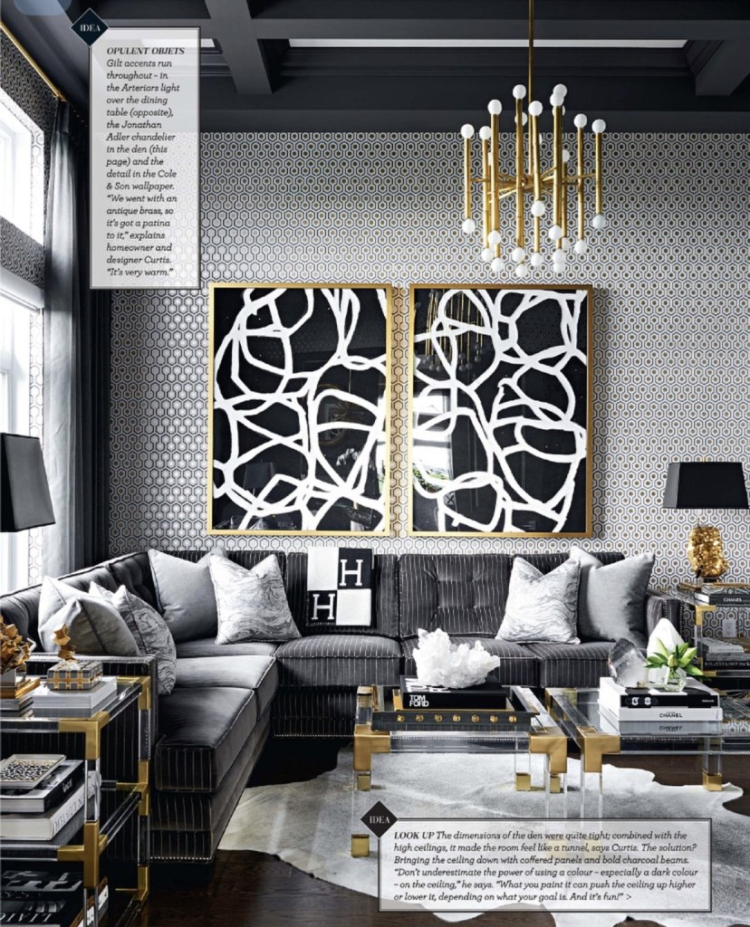 gold and grey modern masculine glamour living room