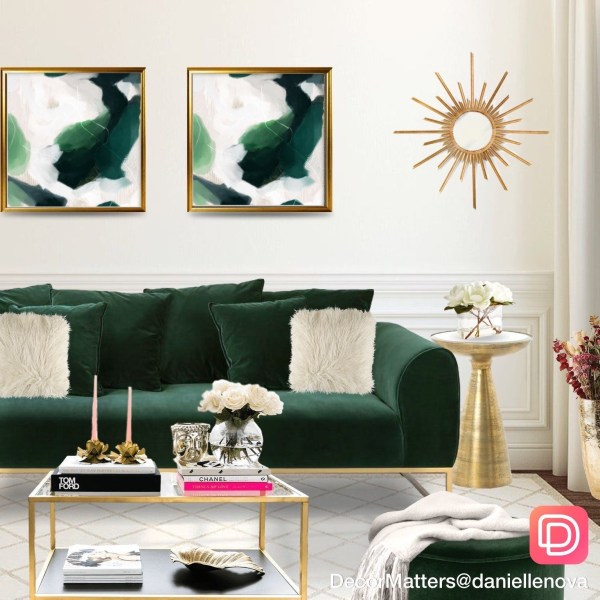green living room with golden accents ideas living room
