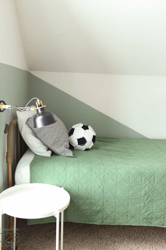 modern and industrial boy bedroom lighting and linens