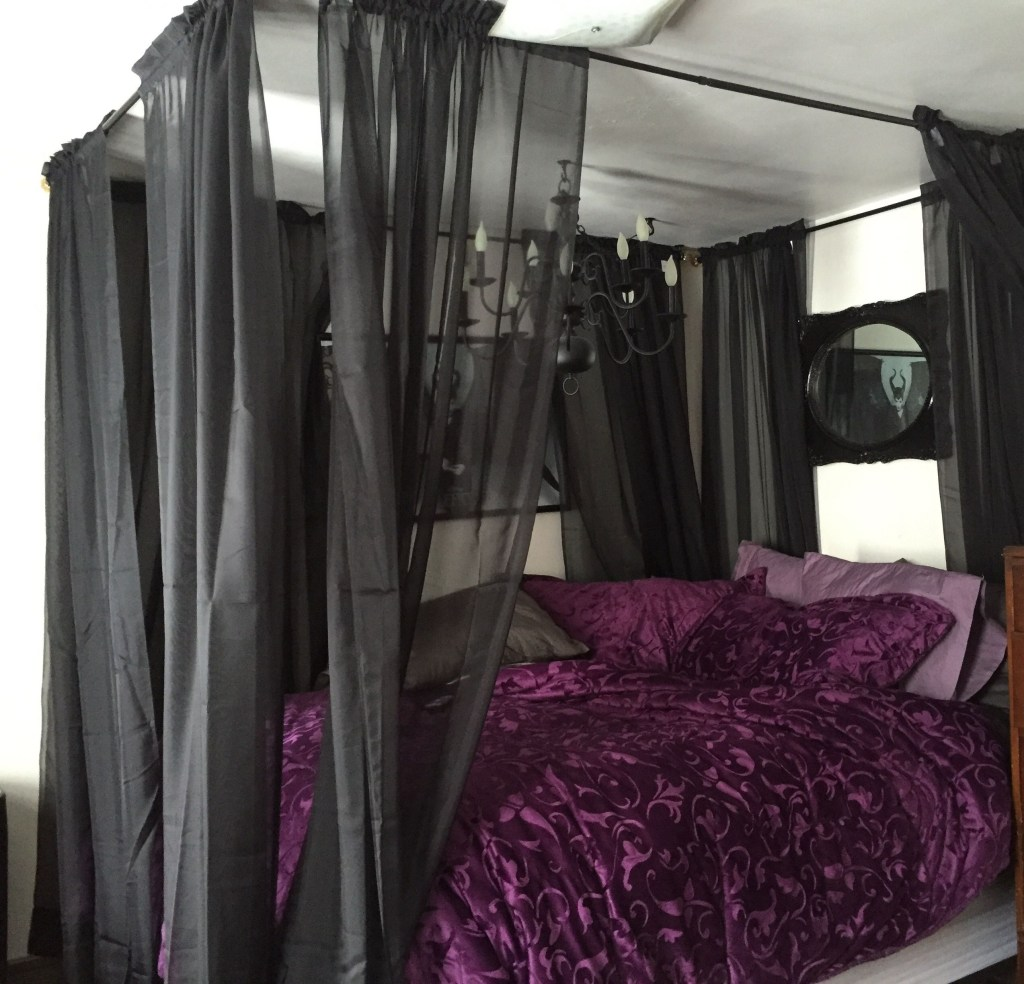my bed after i hung the homemade canopy and sheer curtains