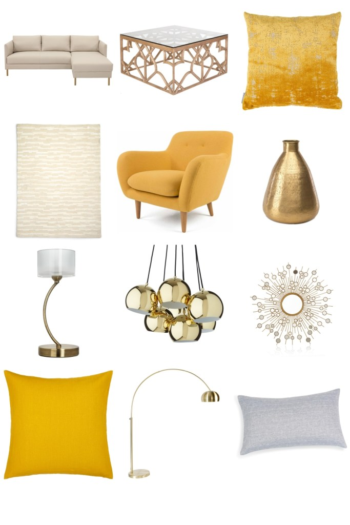 opulent yellow and gold living room inspiration board