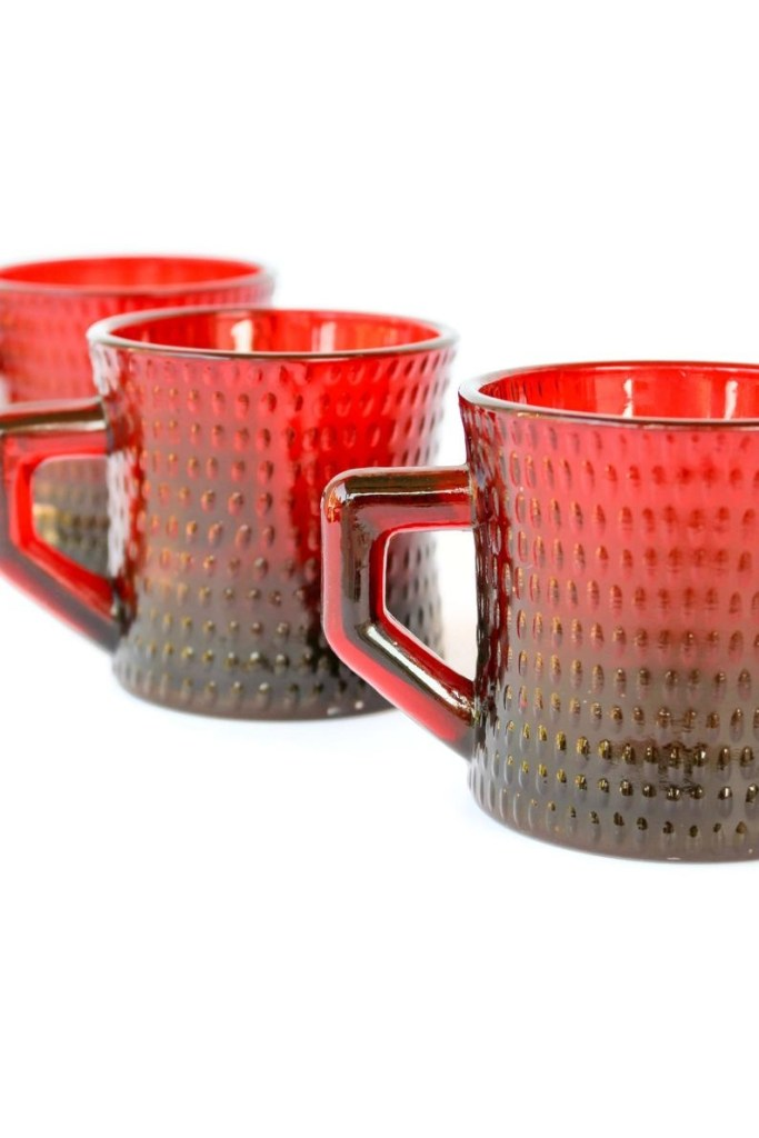 6 ru red mugs vintage red mugs red hobnail vintage coffee cups retro cranberry red coffee mugs with bumps textured glass red mugs
