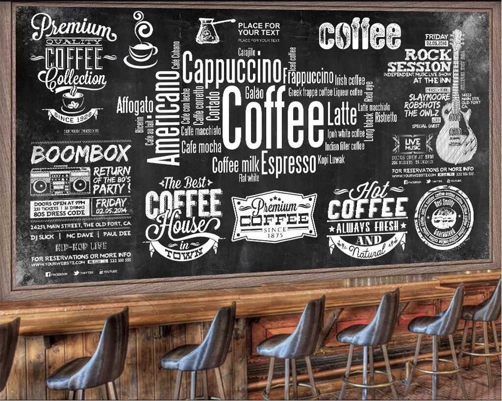 beibehang custom wallpaper european chalkboard newspaper cafe retro tooling background wall black white letters theme wallpapers