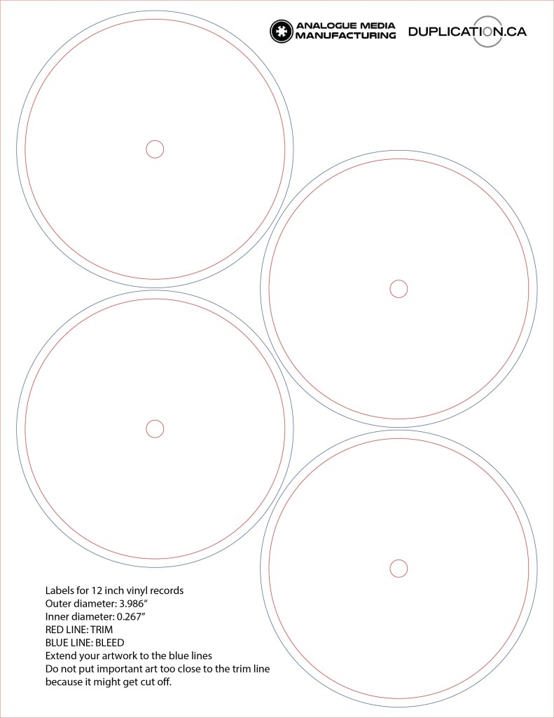 blank labels for 12 vinyl records 4 per sheet