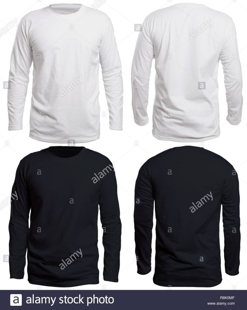 blank long sleeve shirt mock up template front and back