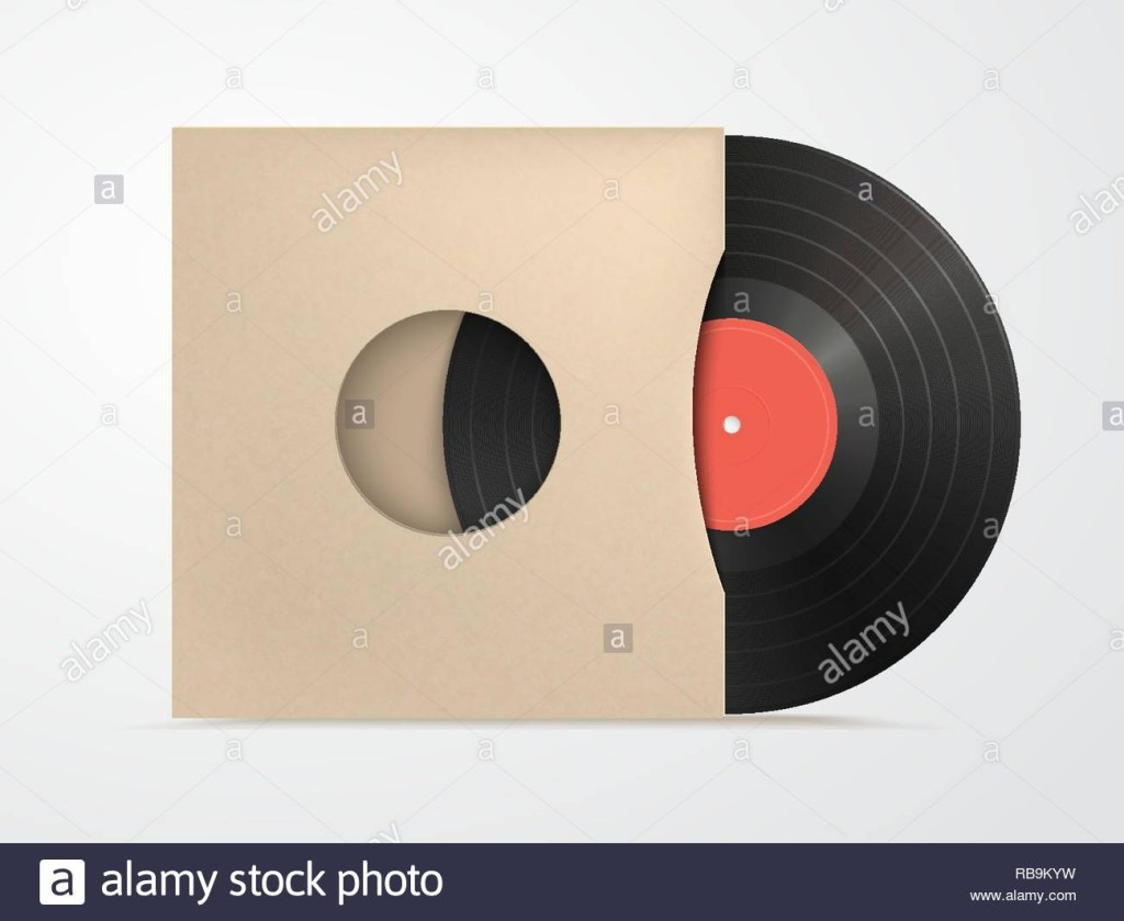 classic design template with vinyl and cover mockup on white