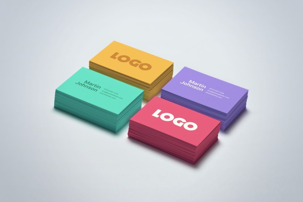 colorful business card mock up mockup world hq colorful