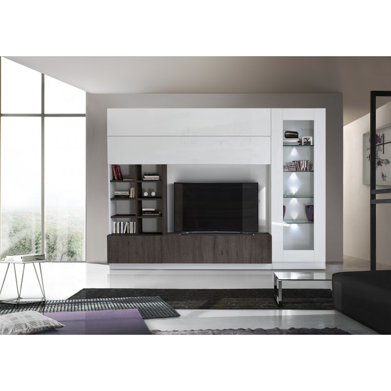 compact ii modern tv wall set in white and wenge wood