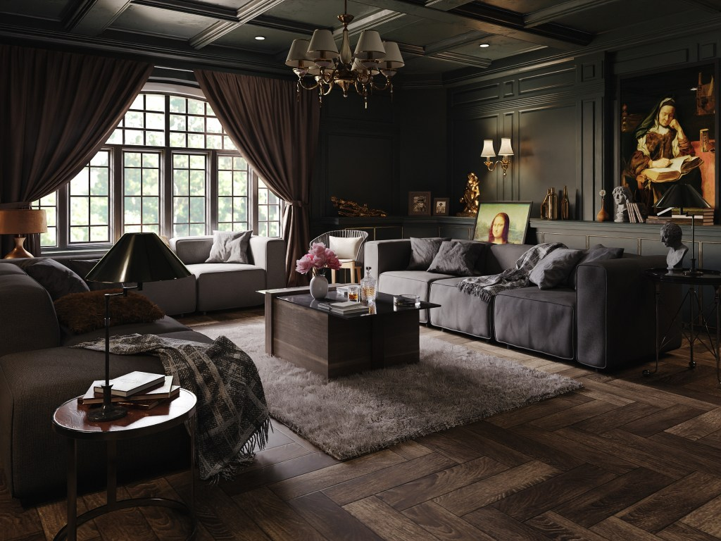 dark interior living room classical finished projects