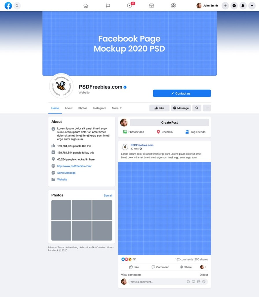 facebook page mockup 2020 psd on behance