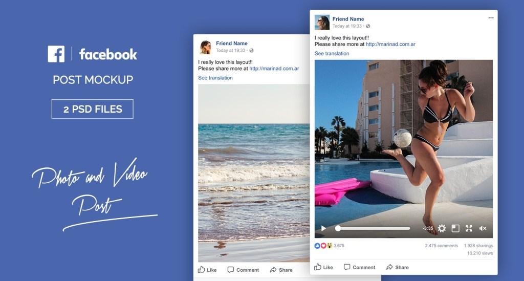 free facebook post mockup psd marinad