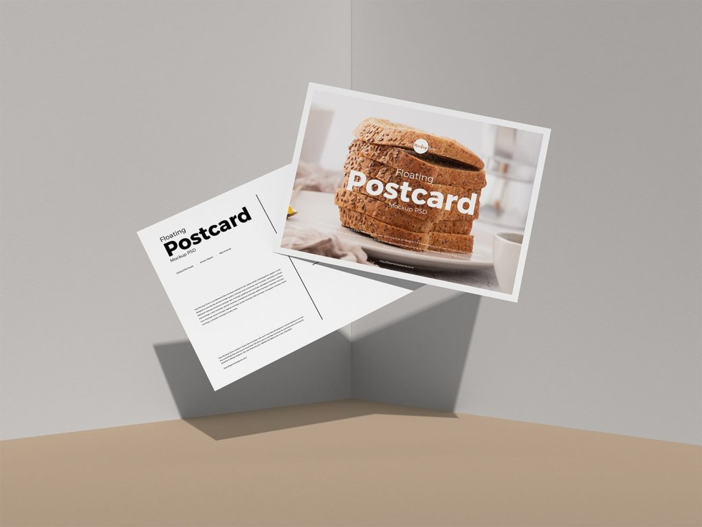 free floating postcard mockup psd to showcase your artworks