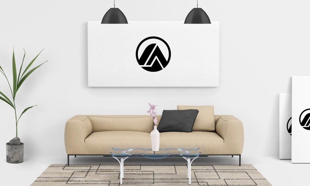 free living room painting wall canvas mockup psd free