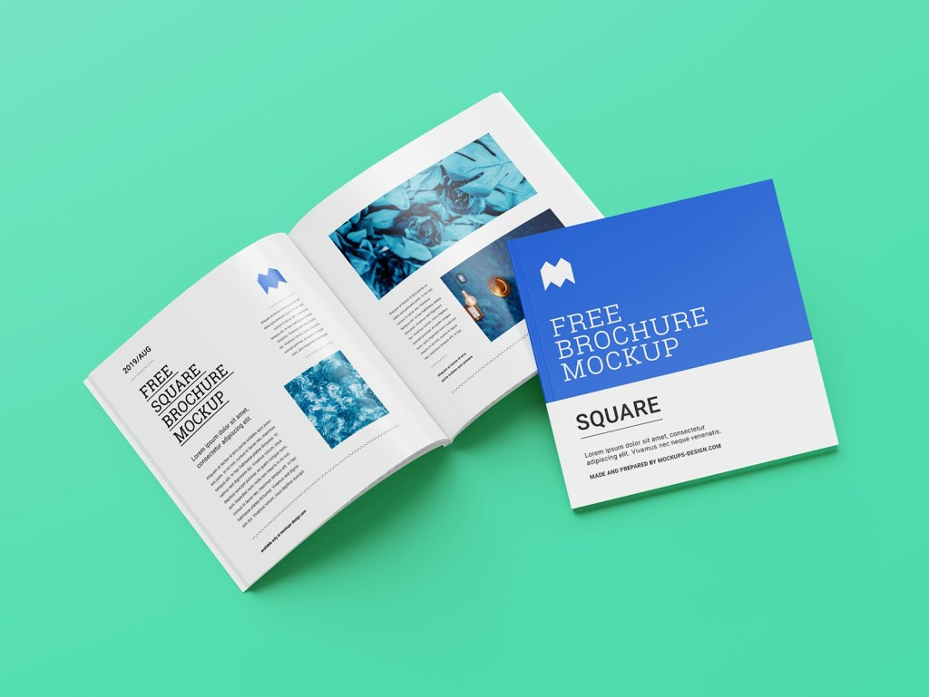 free perfect binding softcover square brochure mockup psd