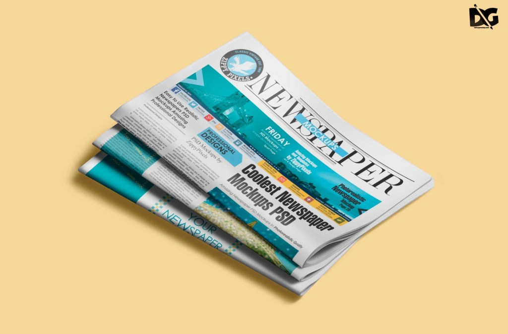 free psd folded newspaper mockup