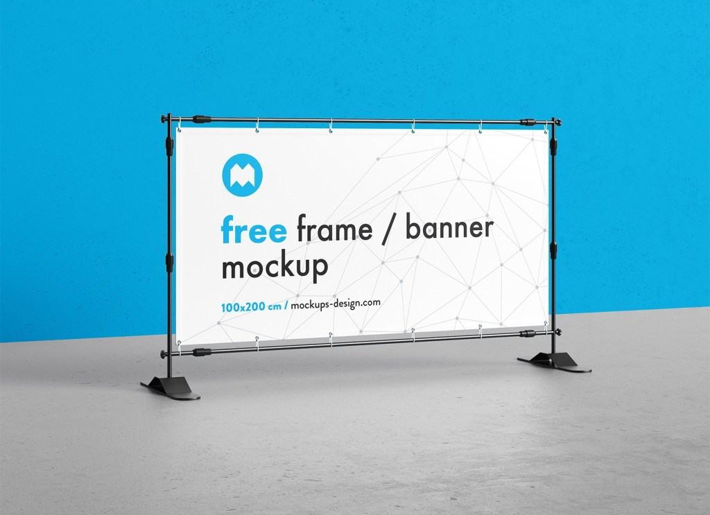 free rectangle frame step and repeat banner mockup psd set