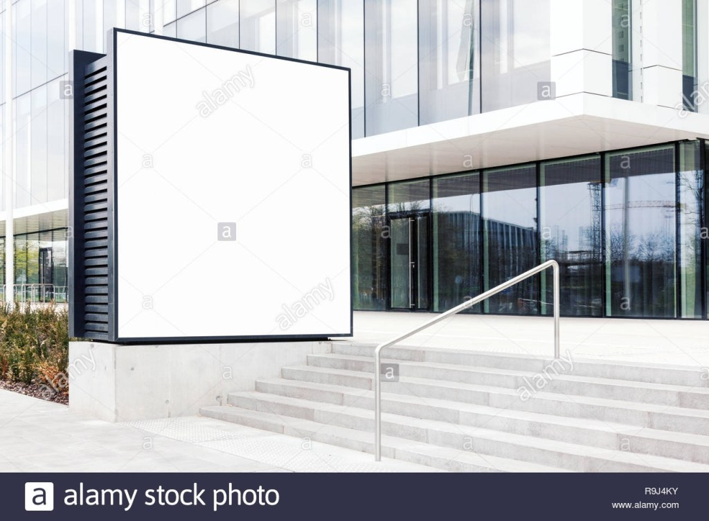 large blank outdoor billboard template with white copy space