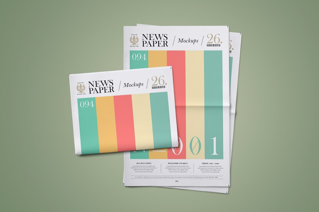 newspaper mockup set punedesign