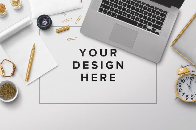 office desktop mockup with laptop and papers premium psd