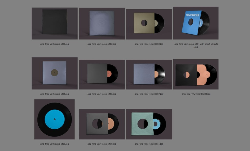 photoshop vinyl records mockup template pack