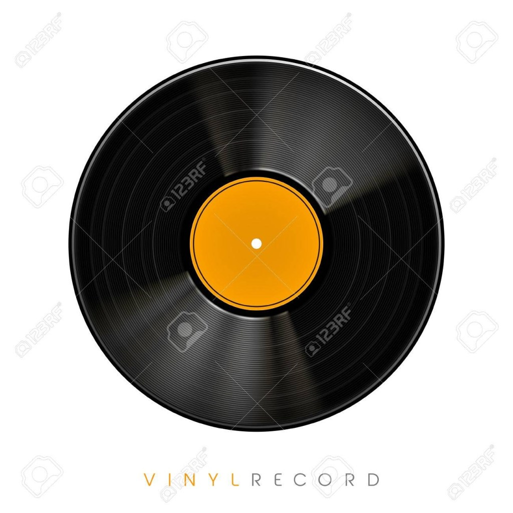 retro 3d vinyl record template over white background